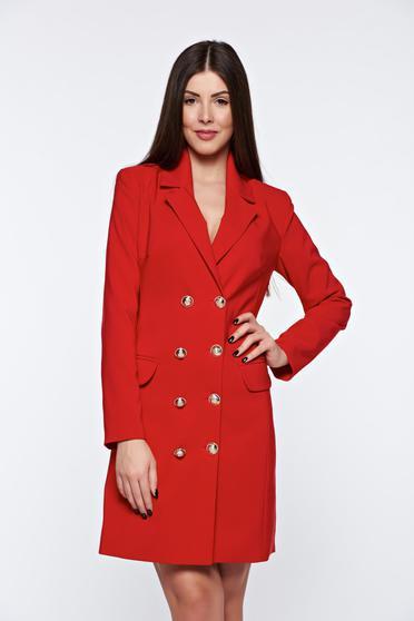 Piros LaDonna zakó tipusú irodai ruha belső béléssel v-dekoltázzsal