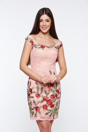 Rózsaszínű Artista alkalmi hímzett ceruza ruha csipkés anyagból belső béléssel