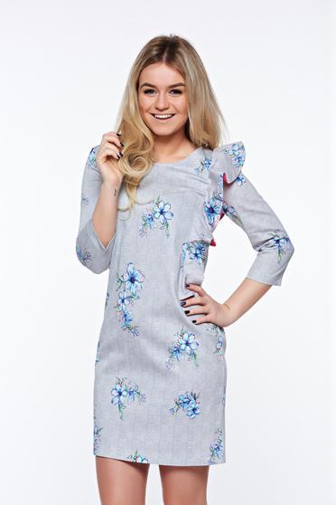 Szürke StarShinerS bő szabású hétköznapi fodros ruha nem elasztikus pamut