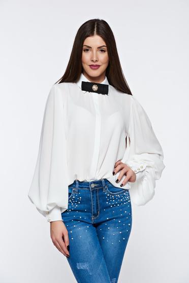 Fehér PrettyGirl elegáns bő szabású női ing lenge anyagból
