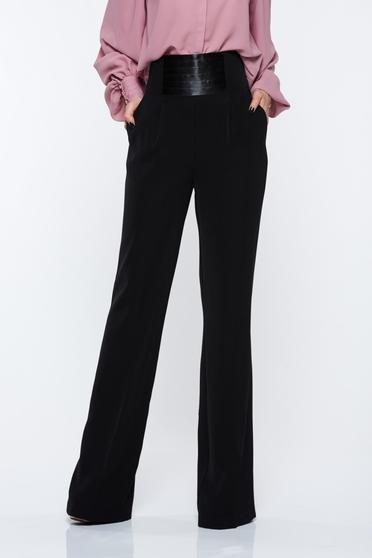 Fekete PrettyGirl elegáns magas derekú nadrág bővülő zsebes