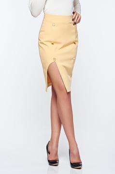 Sárga PrettyGirl irodai ceruza szoknya belső béléssel magas derekú