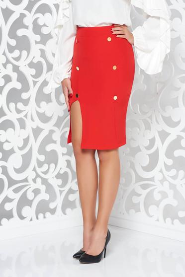 Piros PrettyGirl irodai ceruza szoknya belső béléssel magas derekú