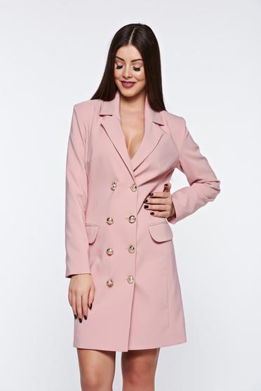 Rózsaszínű LaDonna zakó tipusú irodai ruha belső béléssel v-dekoltázzsal