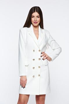 Fehér LaDonna zakó tipusú irodai ruha belső béléssel v-dekoltázzsal