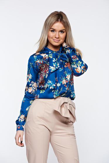Kék PrettyGirl irodai bő szabású női ing szatén anyagból masnis
