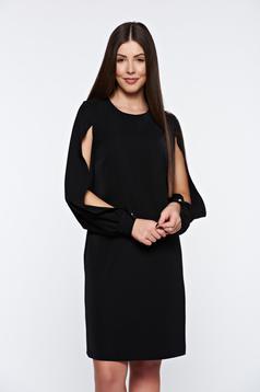 Fekete PrettyGirl elegáns bő szabású ruha kivágott ujjrész belső béléssel