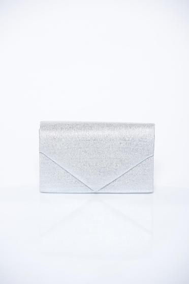 Ezüst alkalmi táska hosszú lánc típusú pánt valamint rövid