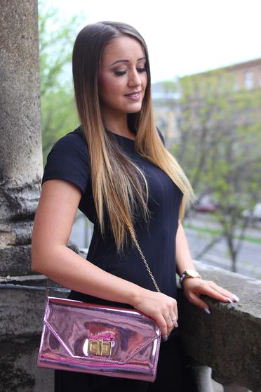 Pink táska elegáns fényes anyag