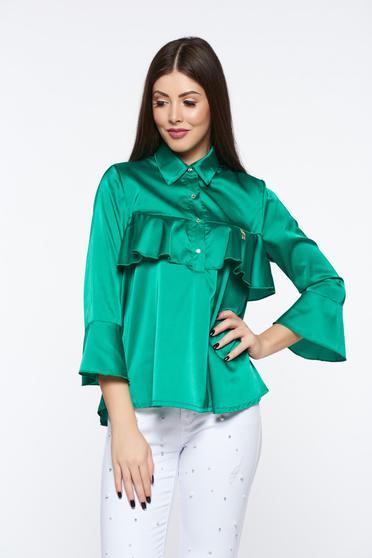 Zöld MissQ elegáns bő szabás női blúz szatén anyagból fodrok a mellrészen