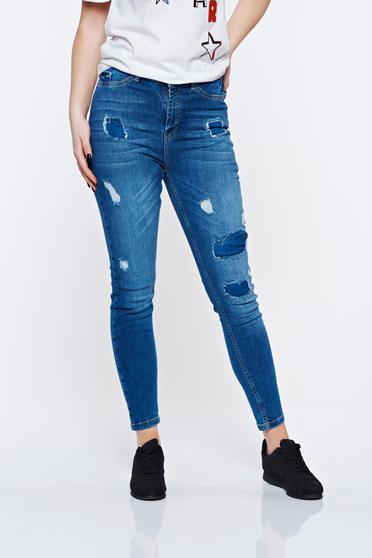 Kék MissQ casual pamutból készült szakadt zsebes skinny farmer magas derekú