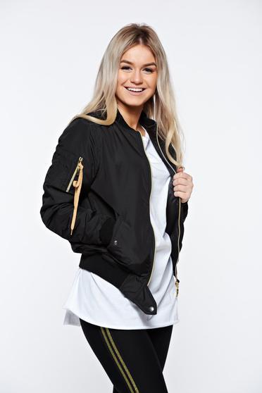 Fekete MissQ dzseki casual hímzett cipzáros zsebek