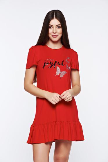 Piros MissQ casual fodros ruha rugalmas és finom anyag csillogó díszítések d445e71da0