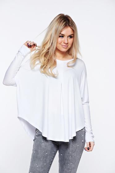 Fehér MissQ casual női blúz bő szabásu rugalmas és finom anyag