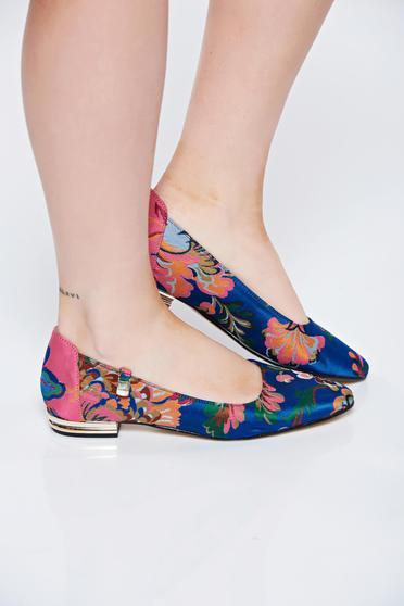Kék MissQ balerina cipő casual szatén anyagból lapos talpú