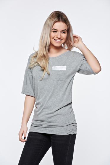 Szürke MissQ casual hosszú póló enyhén rugalmas anyag