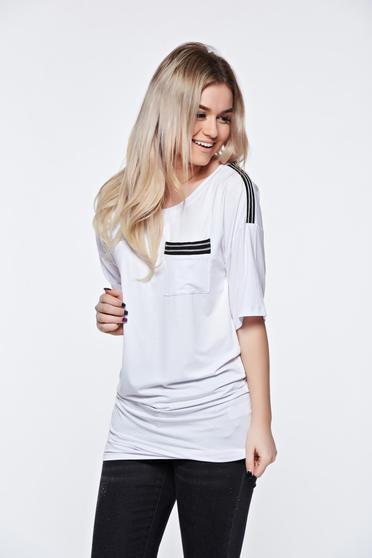 Fehér MissQ casual hosszú póló enyhén rugalmas anyag
