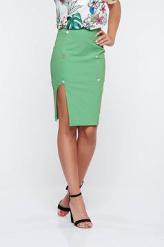 Zöld PrettyGirl irodai ceruza szoknya belső béléssel magas derekú