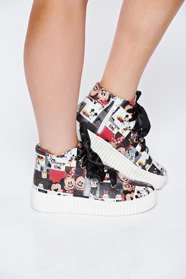Fekete MissQ casual sport cipő borbol fűzővel köthető meg nyomtatott mintával
