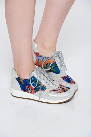 Ezüst MissQ casual sport cipő fűzővel köthető meg