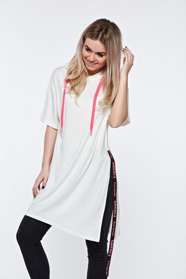 Fehér MissQ casual bő szabás póló a kapucni nem távolítható el puha anyag
