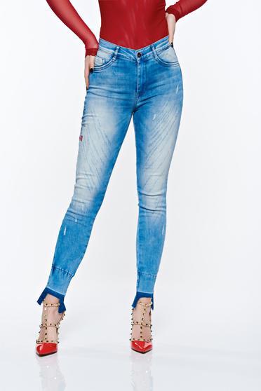 Kék MissQ casual rugalmas pamut skinny farmer