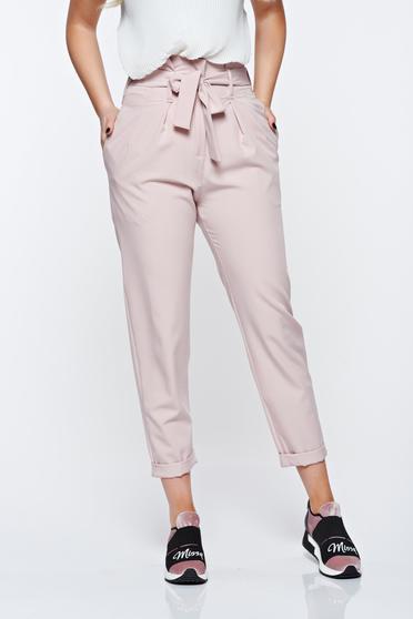 Rózsaszínű casual magas derekú SunShine nadrág enyhén rugalmas anyag zsebes