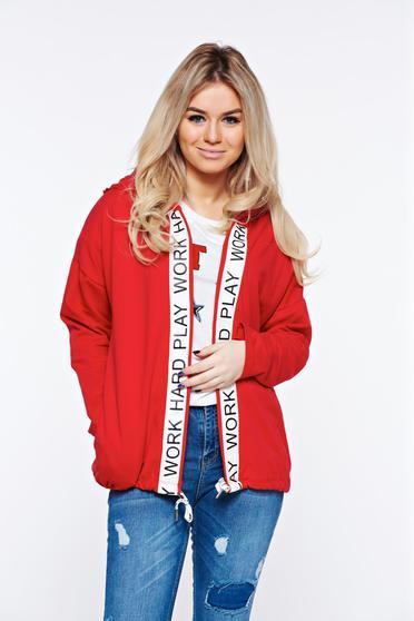 Piros casual hanorák pamutból készült a kapucni nem távolítható el bő szabás