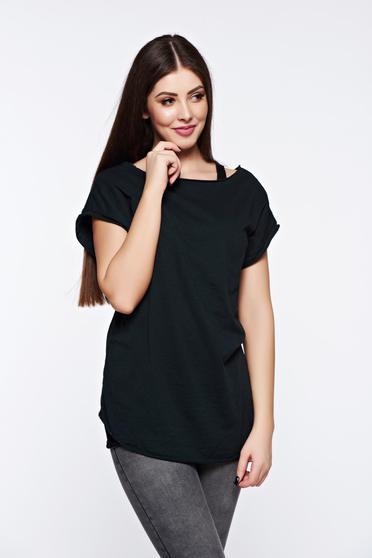 Fekete póló casual rugalmas pamut bő szabásu