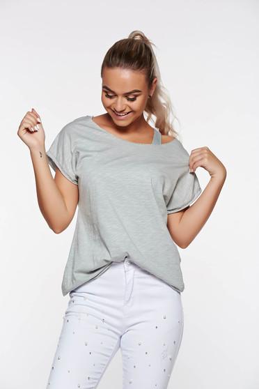 Szürke póló casual rugalmas pamut bő szabás