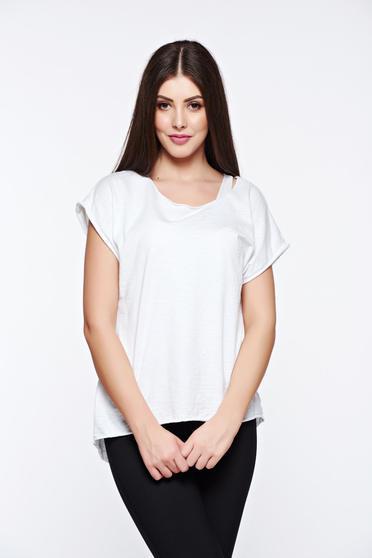 Fehér póló casual rugalmas pamut bő szabás