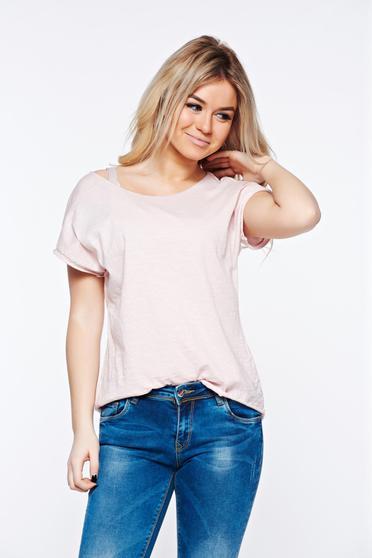 Rózsaszínű póló casual rugalmas pamut bő szabás