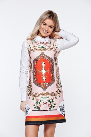 Pink casual bő szabás ruha nyomtatott mintával