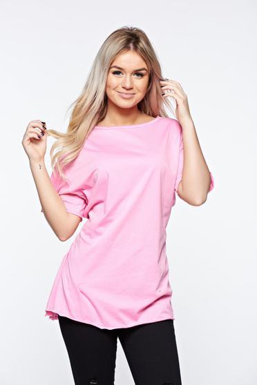 Pink casual bő szabás póló rugalmas pamut zsinórral van ellátva