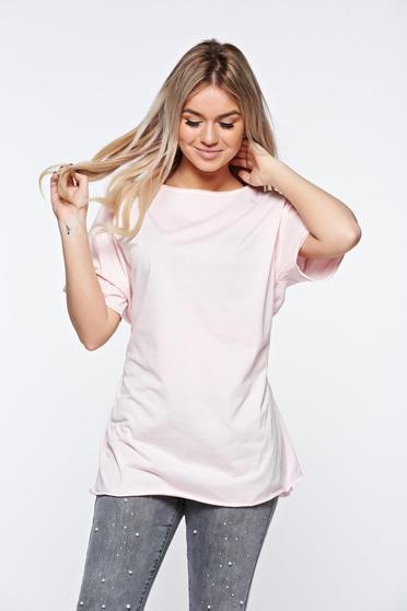 Rózsaszínű casual bő szabás póló rugalmas pamut zsinórral van ellátva