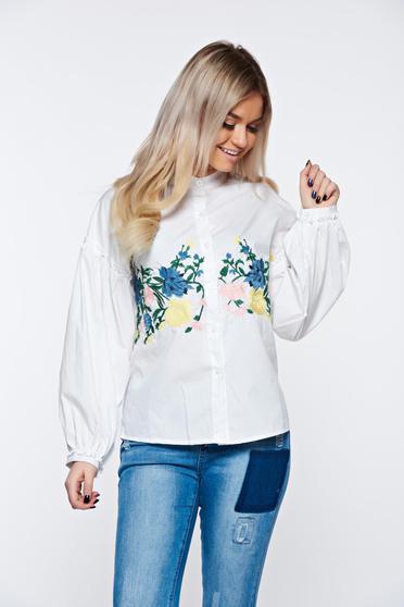 Fehér női ing casual pamutból készült hímzett