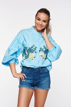 Kék női ing casual pamutból készült hímzett
