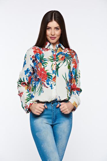 Fehér casual női ing pamutból készült bő szabású hosszú