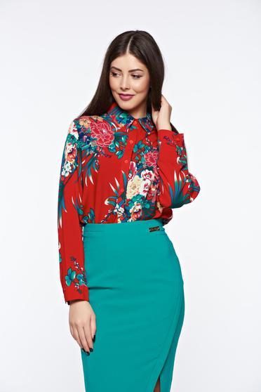 Piros casual női ing pamutból készült bő szabású hosszú