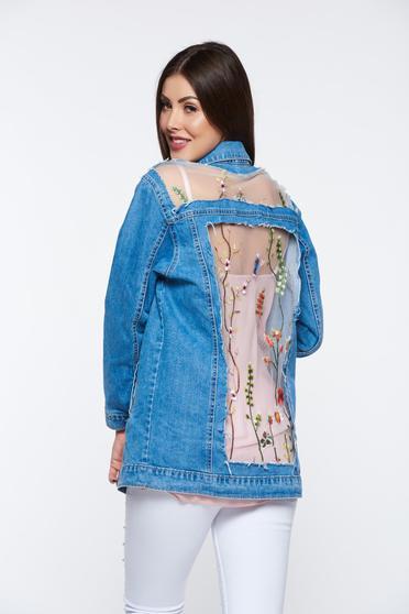 Kék dzseki casual pamutból készült tüll hímzett zsebes