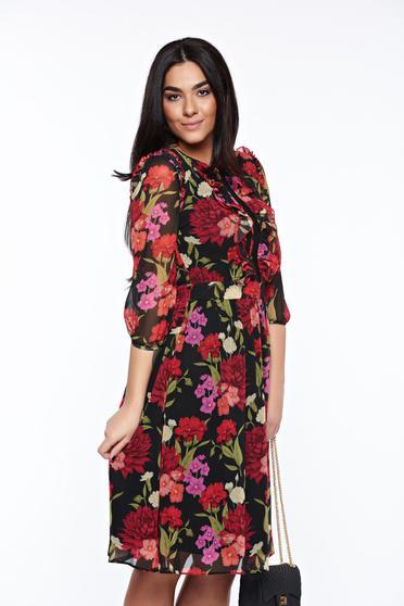 Fekete LaDonna elegáns ruha belső béléssel kézzel varrott díszítésekk derékban rugalmas