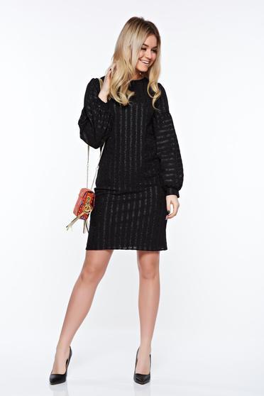 Fekete StarShinerS elegáns ruha belső béléssel enyhén rugalmas anyag