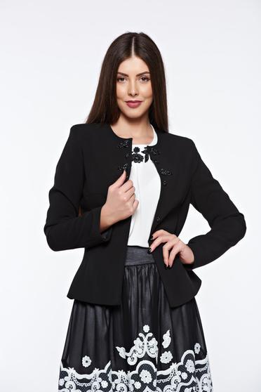 Fekete LaDonna elegáns szűkített blézer belső béléssel himzett díszítésekkel