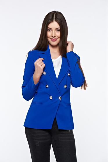 Kék LaDonna irodai szűkített blézer belső béléssel enyhén rugalmas szövet