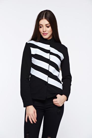 Fekete Ocassion dzseki casual enyhén elasztikus pamut kapcsokkal zárható