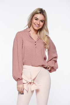 Rózsaszínű PrettyGirl bő szabásu irodai női ing nem elasztikus pamut