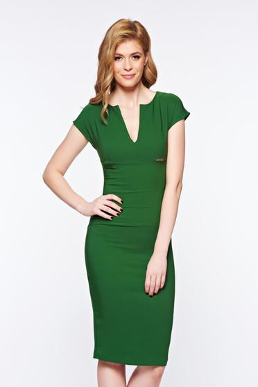 Zöld PrettyGirl irodai ceruza ruha enyhén rugalmas szövet v-dekoltázzsal
