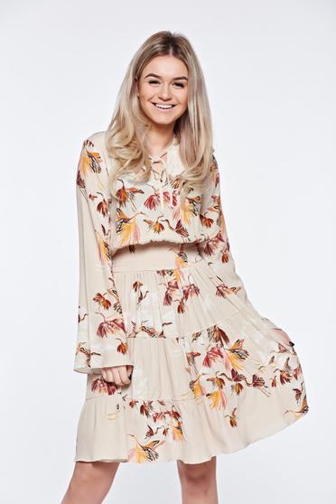 Krém PrettyGirl hétköznapi harang ruha derékban rugalmas belső béléssel lenge anyagból
