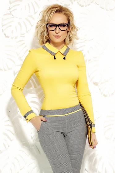 Sárga Fofy irodai karcsusított szabásu női ing enyhén elasztikus pamutbol