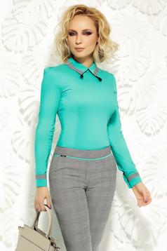 Zöld Fofy irodai karcsusított szabás női ing enyhén elasztikus pamut